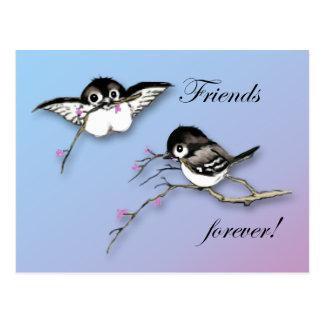 Amigos lindos de la postal del Chickadee para