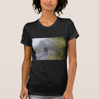 Amish en un bosque de niebla camiseta