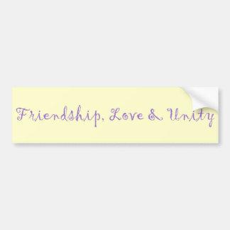 Amistad, amor y unidad pegatina para coche
