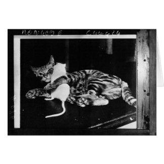 Amistad asombrosamente - gato Minnie y ratón de Tarjeta De Felicitación