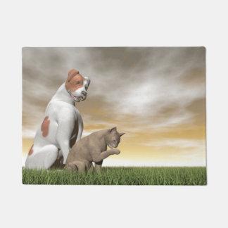 Amistad del perro y del gato - 3D rinden
