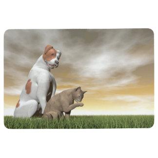 Amistad del perro y del gato - 3D rinden Alfombra