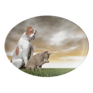 Amistad del perro y del gato - 3D rinden Bandeja De Porcelana