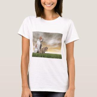 Amistad del perro y del gato - 3D rinden Camiseta