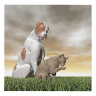Amistad del perro y del gato - 3D rinden Cuadro