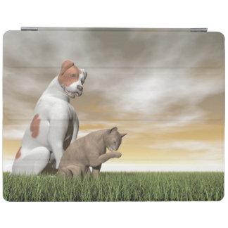 Amistad del perro y del gato - 3D rinden Cubierta De iPad