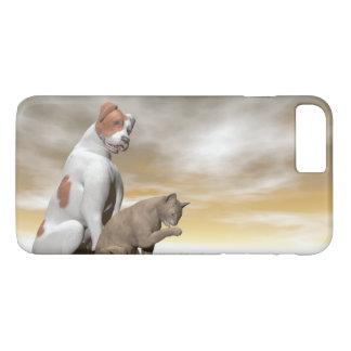 Amistad del perro y del gato - 3D rinden Funda iPhone 7 Plus