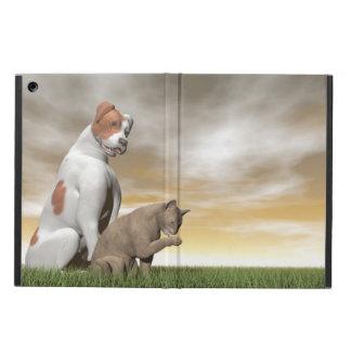 Amistad del perro y del gato - 3D rinden Funda Para iPad Air
