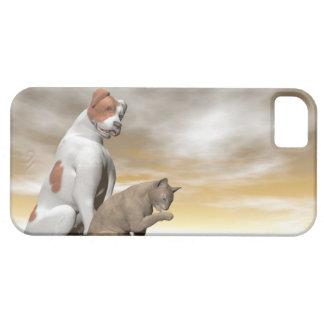 Amistad del perro y del gato - 3D rinden Funda Para iPhone SE/5/5s