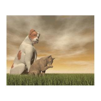 Amistad del perro y del gato - 3D rinden Impresión En Madera