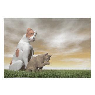 Amistad del perro y del gato - 3D rinden Mantel Individual