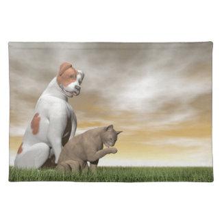 Amistad del perro y del gato - 3D rinden Manteles