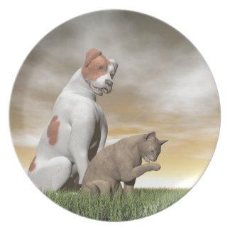 Amistad del perro y del gato - 3D rinden Plato De Cena