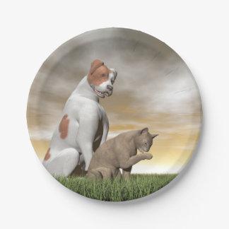 Amistad del perro y del gato - 3D rinden Plato De Papel