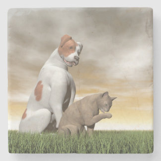 Amistad del perro y del gato - 3D rinden Posavasos De Piedra