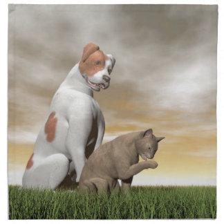 Amistad del perro y del gato - 3D rinden Servilleta Imprimida
