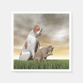 Amistad del perro y del gato - 3D rinden Servilletas Desechables