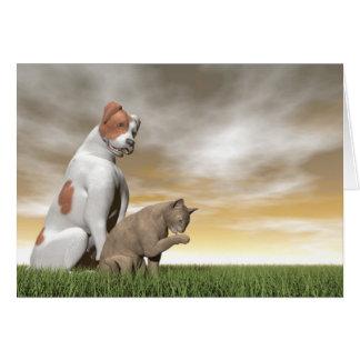 Amistad del perro y del gato - 3D rinden Tarjeta De Felicitación
