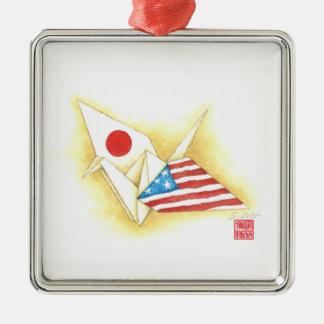 Amistad Japón-EE.UU. del ~ de plata del ornamento