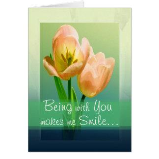 Amistad sonriente del tulipán tarjeta pequeña