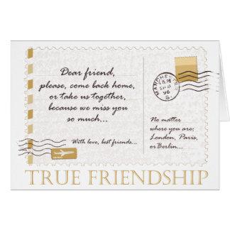 Amistad verdadera tarjeta de felicitación