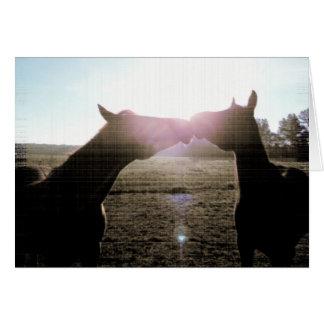 Amistad y amor verdaderos de caballos tarjeta de felicitación