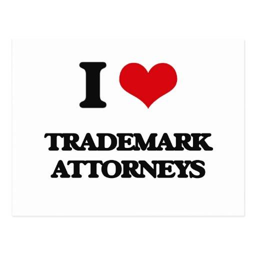 Amo a abogados de la marca registrada postales
