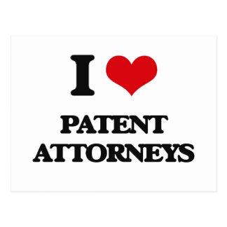 Amo a abogados de patentes tarjeta postal