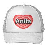 Amo a Anita. Te amo Anita. Corazón Gorros Bordados