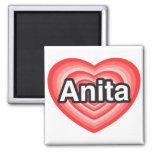 Amo a Anita. Te amo Anita. Corazón Imanes Para Frigoríficos
