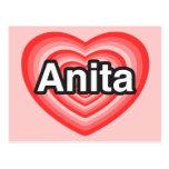 Amo a Anita. Te amo Anita. Corazón Tarjeta Postal