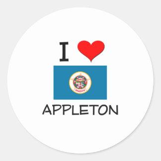 Amo a Appleton Minnesota Etiqueta Redonda