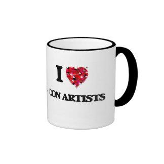 Amo a artistas de estafa taza a dos colores