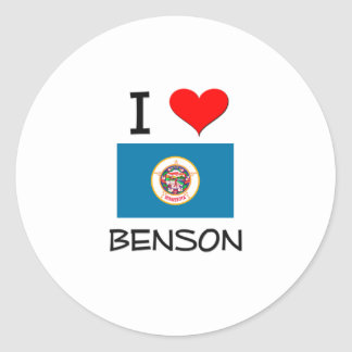 Amo a Benson Minnesota Etiqueta Redonda