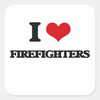 AMO a bomberos Pegatina Cuadradas