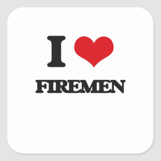 Amo a bomberos calcomanía cuadrada personalizada