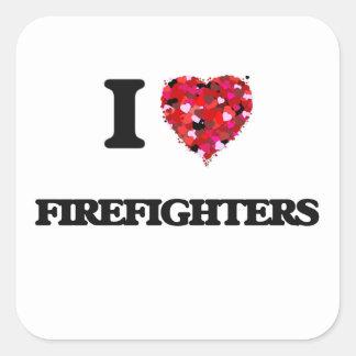 Amo a bomberos pegatina cuadrada