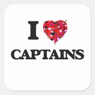 Amo a capitanes pegatina cuadrada