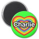 Amo a Charlie: corazón del arco iris Imán Redondo 5 Cm