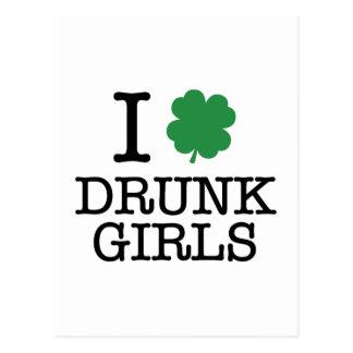 Amo a chicas borrachos postal