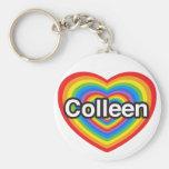 Amo a Colleen. Te amo Colleen. Corazón Llaveros Personalizados