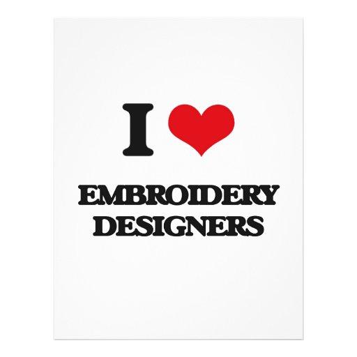 Amo a diseñadores del bordado tarjetas publicitarias
