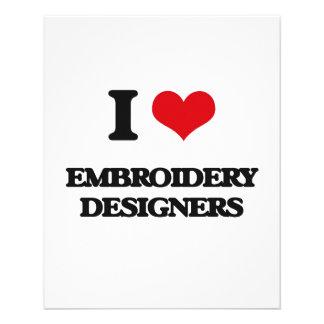 Amo a diseñadores del bordado flyer personalizado