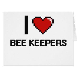 Amo a encargados de la abeja tarjeta de felicitación grande
