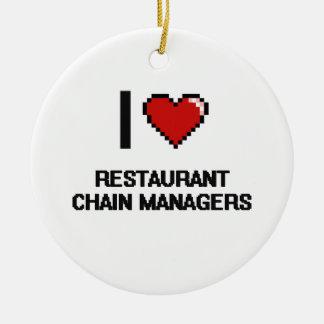 Amo a encargados de la cadena de restaurantes adorno redondo de cerámica