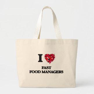 Amo a encargados de los alimentos de preparación bolsa tela grande