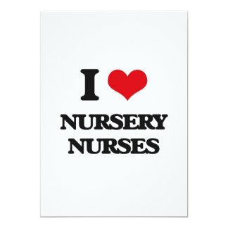 Amo a enfermeras del cuarto de niños invitación 12,7 x 17,8 cm