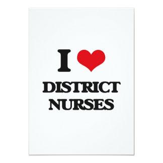 Amo a enfermeras del distrito invitación 12,7 x 17,8 cm