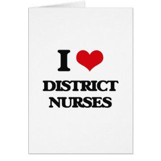 Amo a enfermeras del distrito tarjeton
