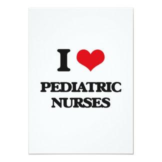 Amo a enfermeras pediátricas invitación 12,7 x 17,8 cm